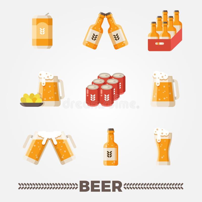 Insieme piano di vettore delle icone di vettore della birra Festival del tedesco di Oktoberfest illustrazione di stock