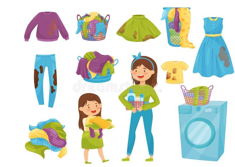 Insieme piano di vettore delle icone della lavanderia Canestri con i vestiti sporchi Chiuda sul colpo Ragazze del fumetto che fan illustrazione di stock