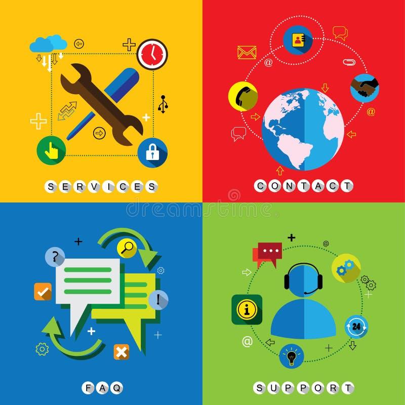Insieme piano di vettore delle icone di web di progettazione per il contatto, il servizio, il FAQ & il sup illustrazione di stock