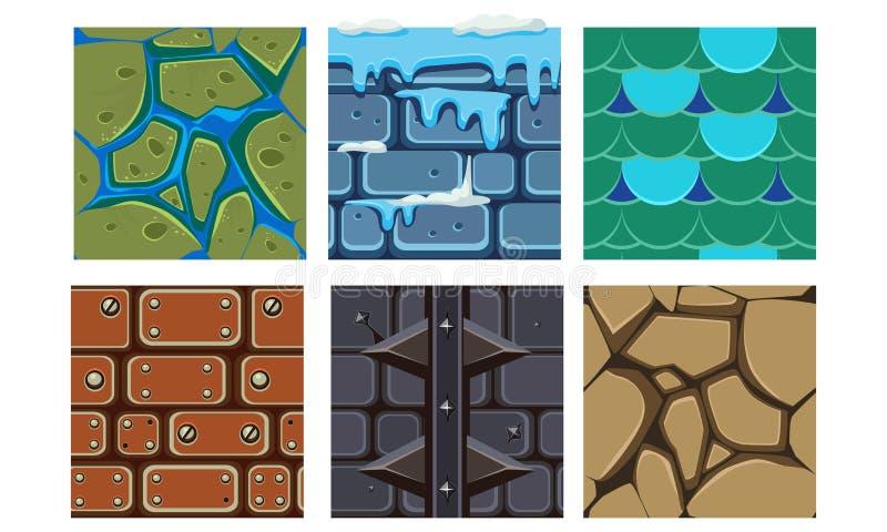 Insieme piano di vettore delle icone di platformers per i giochi mobili Modelli senza cuciture con i mattoni, il ghiaccio, il suo royalty illustrazione gratis