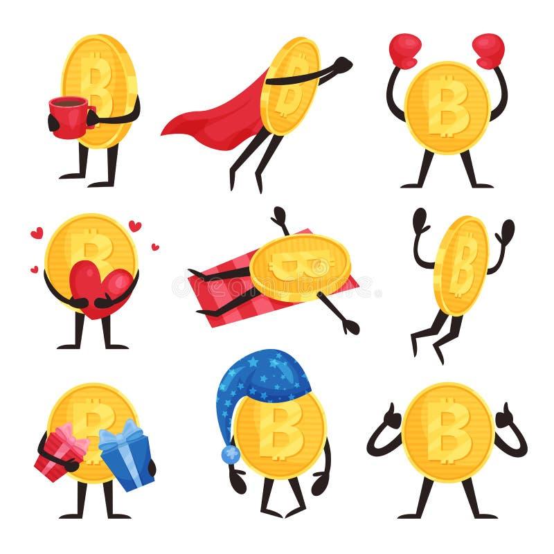 Insieme piano di vettore delle monete dorate con le armi e delle gambe nelle azioni differenti Caratteri del bitcoin del fumetto  illustrazione di stock