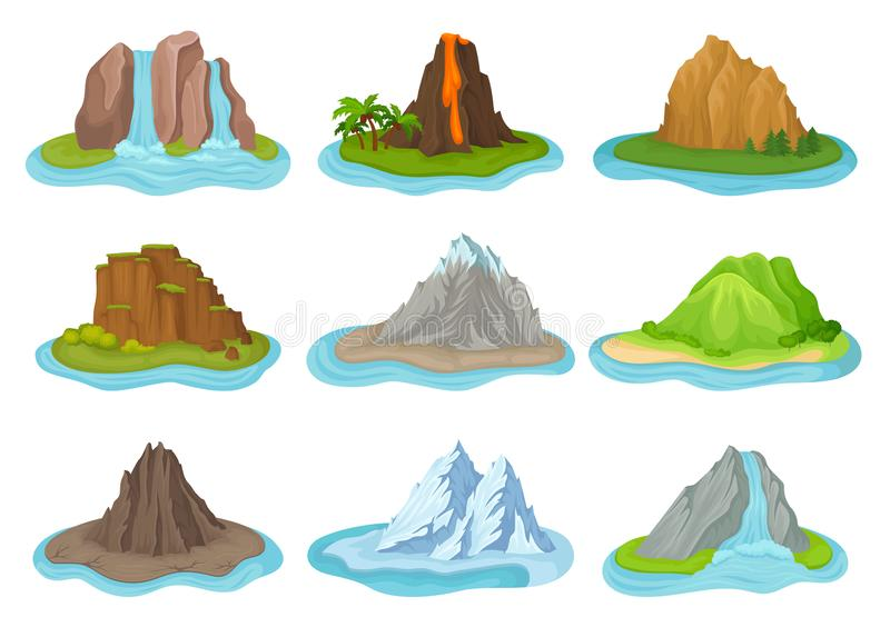 Insieme piano di vettore delle montagne e delle cascate Piccole isole circondate da acqua Paesaggio naturale illustrazione vettoriale