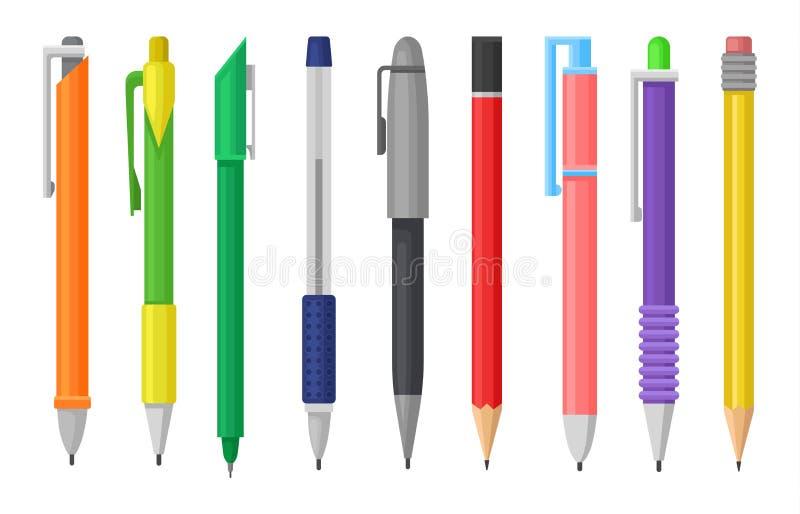 Insieme piano di vettore delle penne variopinte e delle matite Rifornimento della cancelleria Strumenti dell'ufficio o della scuo royalty illustrazione gratis