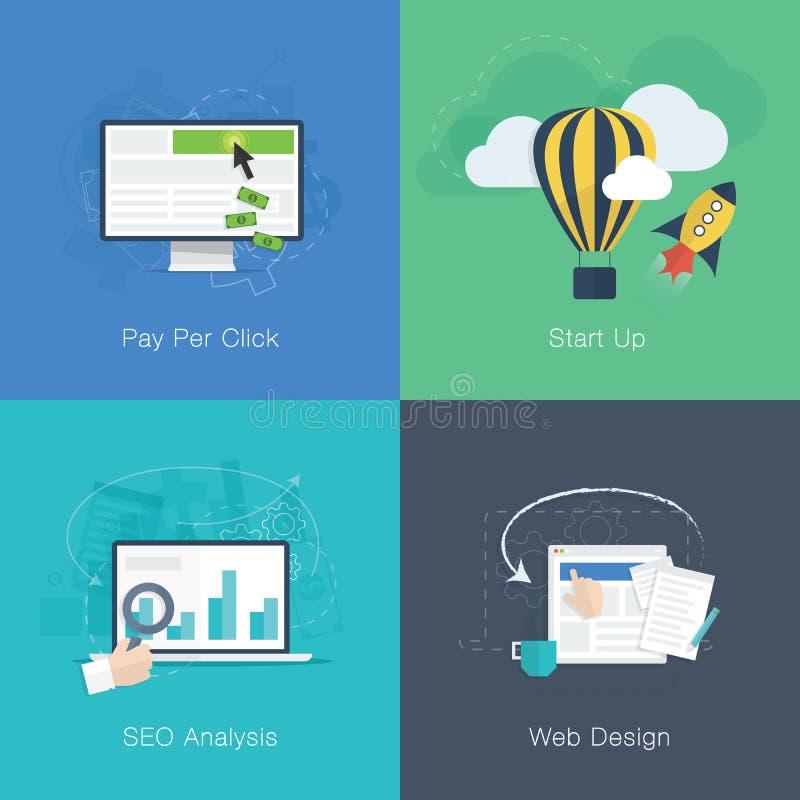Insieme piano di vettore di concetti di affari di sviluppo di web illustrazione vettoriale