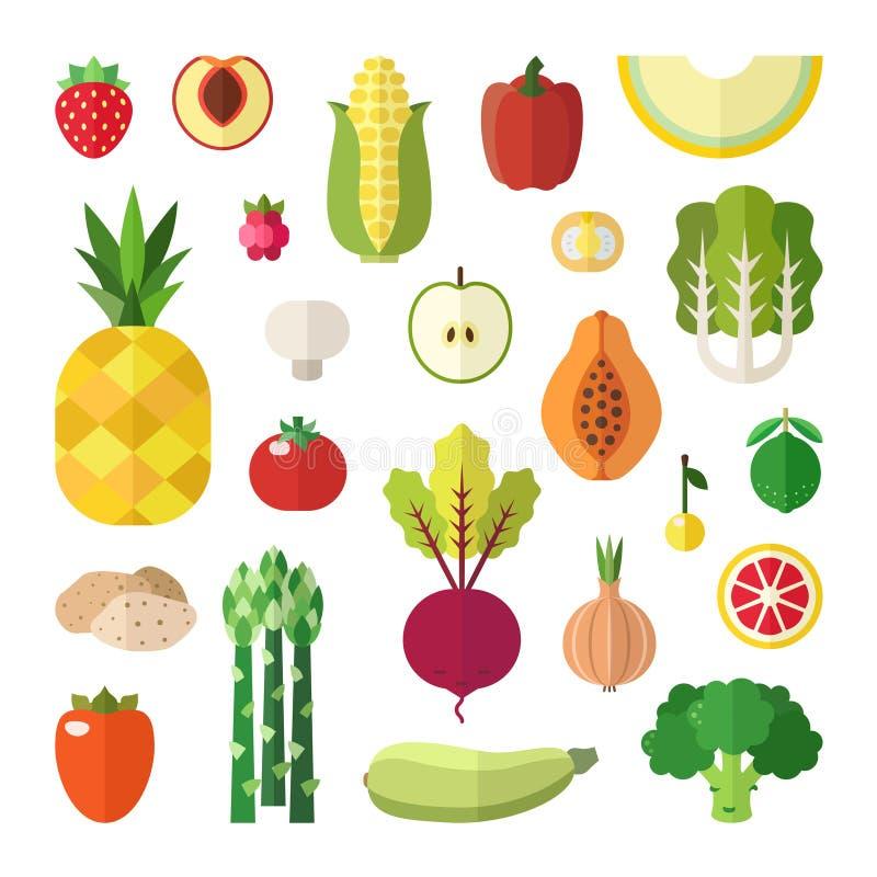 Insieme piano di vettore di stile della verdura e della frutta Parte due illustrazione di stock