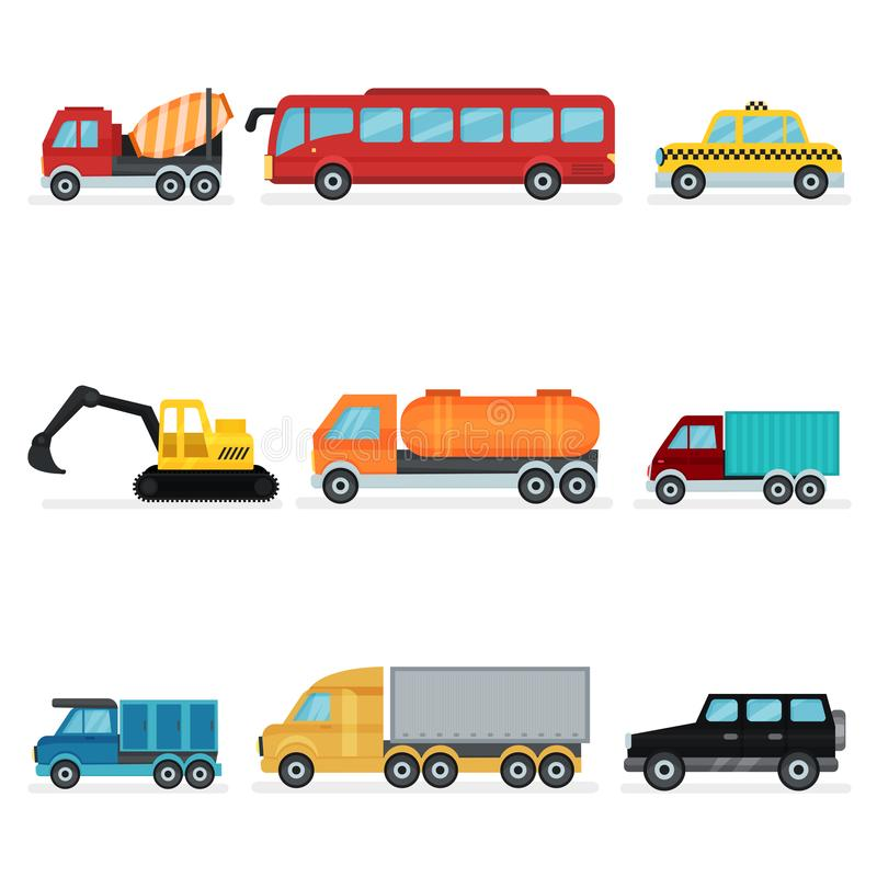 Insieme piano di vettore di vario trasporto urbano Autoveicoli per i passeggeri, il macchinario industriale e le automobili di se royalty illustrazione gratis