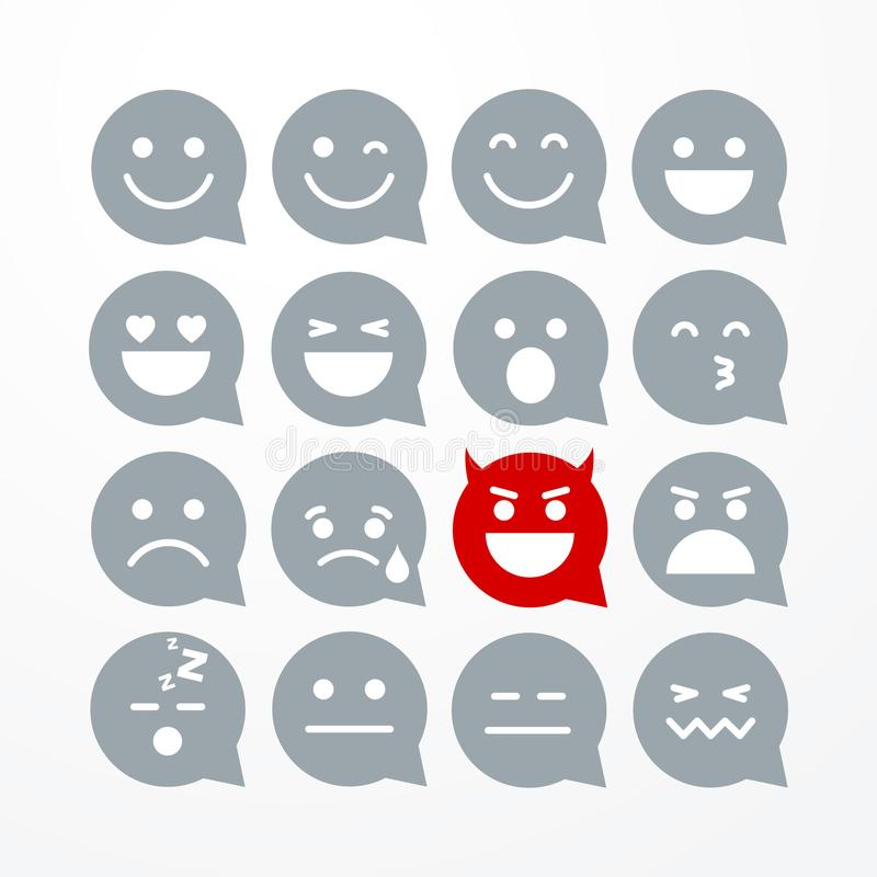 Insieme piano divertente dell'icona del fumetto dell'emoticon di emoji di stile isolato estratto dell'illustrazione di vettore illustrazione di stock