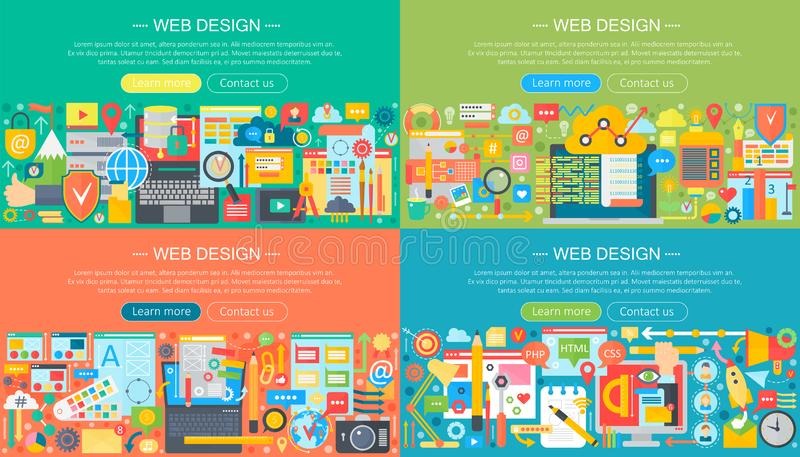 Insieme piano horisontal delle insegne di progettazione di massima di web design Servizi dei apps del telefono cellulare ed apps, illustrazione vettoriale