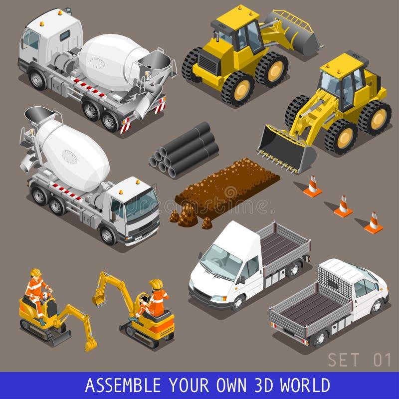 Insieme piano isometrico dell'icona 3d di trasporto della costruzione della città illustrazione di stock