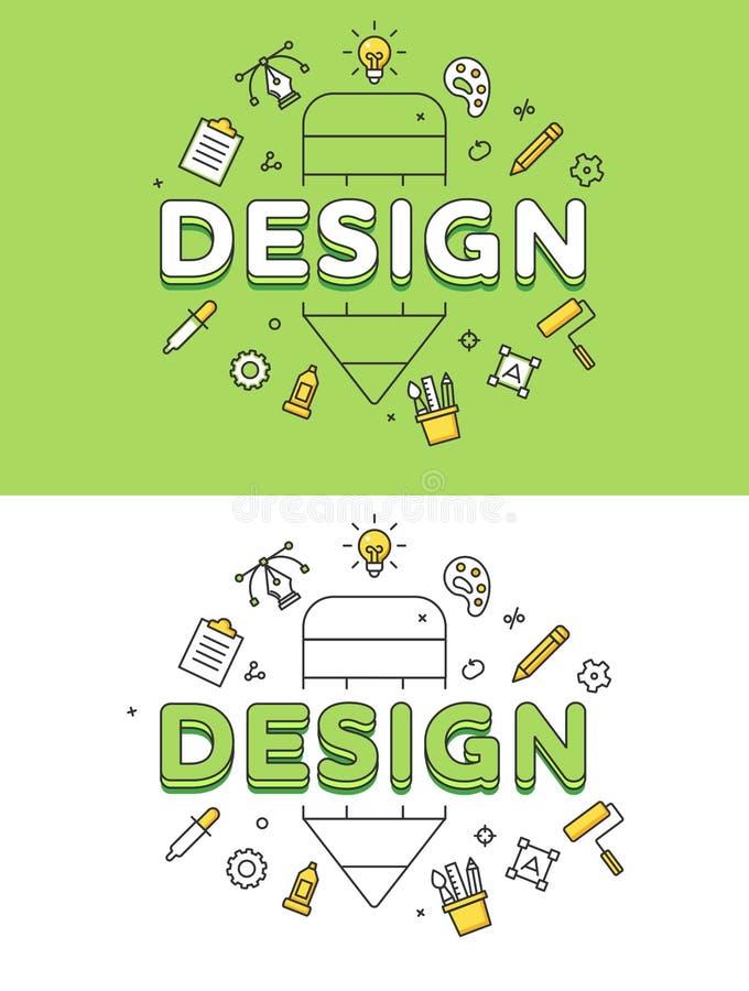Insieme piano lineare di vettore del sito Web delle icone della matita di PROGETTAZIONE illustrazione vettoriale
