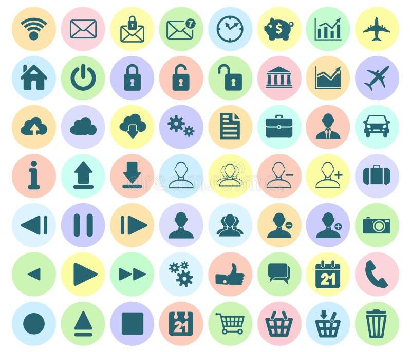 Insieme piano moderno dell'icona del web, delle multimedia e delle icone di affari sulla a illustrazione di stock