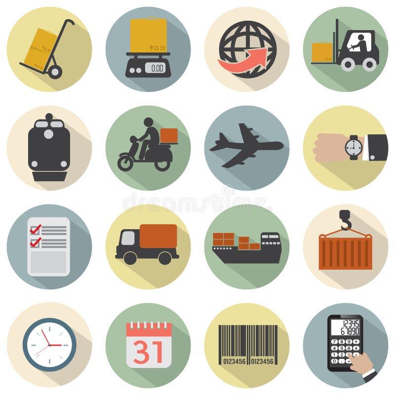 Insieme piano moderno dell'icona di logistica di progettazione royalty illustrazione gratis