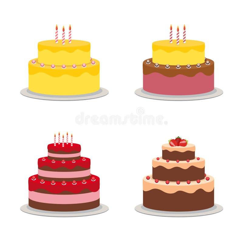 Insieme piano per la vostra progettazione, illustrazione di Cllection dell'icona della torta di compleanno di vettore illustrazione di stock