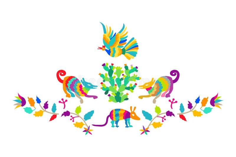 Insieme piega del modello del ricamo di stile di Otomi del messicano di vettore Elementi pieghi dell'ornamento del ricamo illustrazione vettoriale