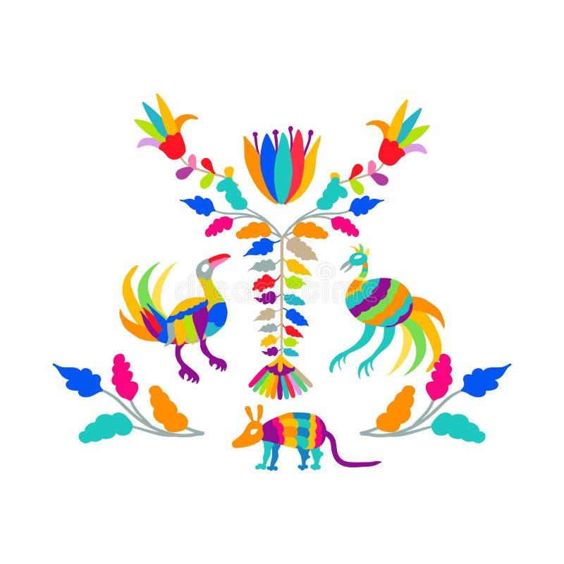 Insieme piega del modello del ricamo di stile di Otomi del messicano di vettore Elementi pieghi dell'ornamento del ricamo royalty illustrazione gratis
