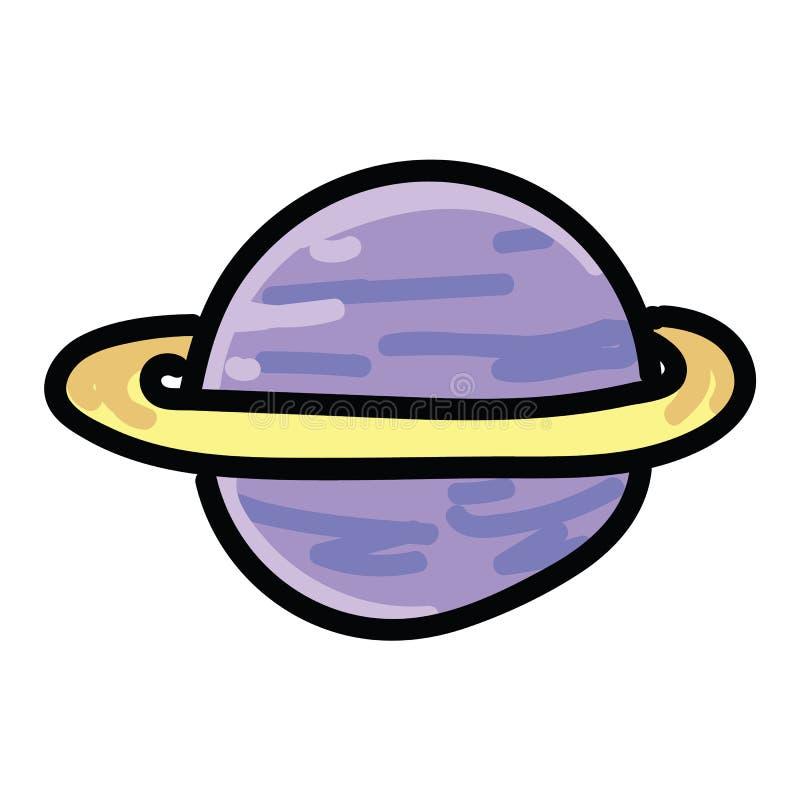 Insieme porpora sveglio di motivo dell'illustrazione di vettore del fumetto del pianeta della galassia Clipart isolato disegnato  royalty illustrazione gratis