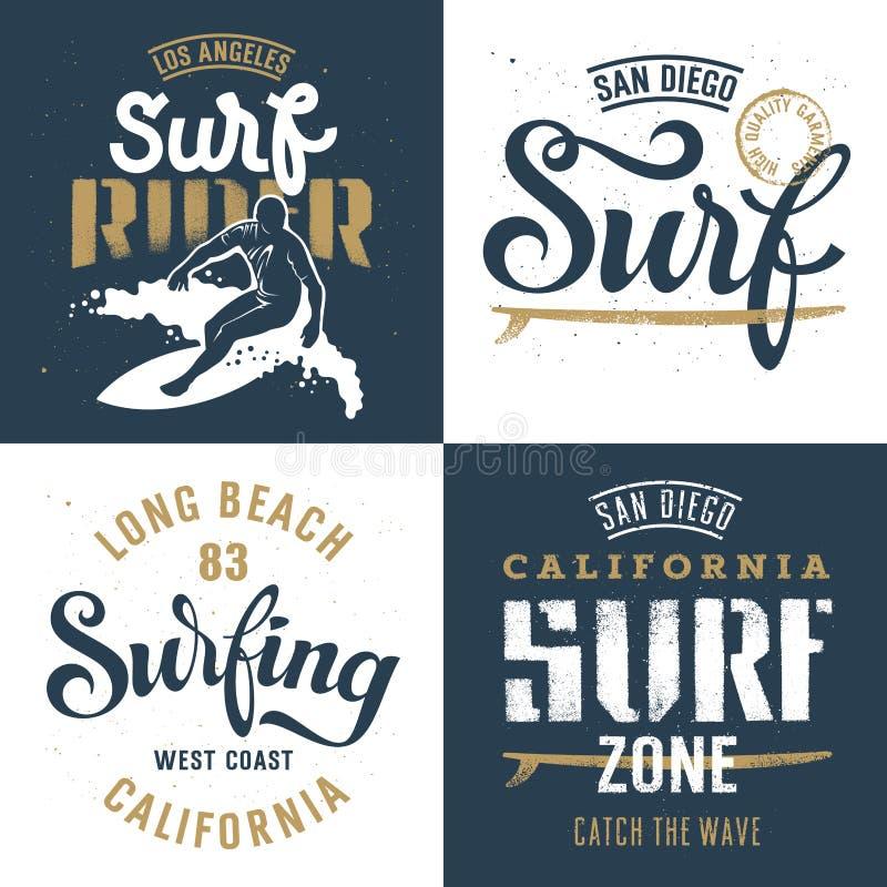 Insieme praticante il surfing 001 royalty illustrazione gratis