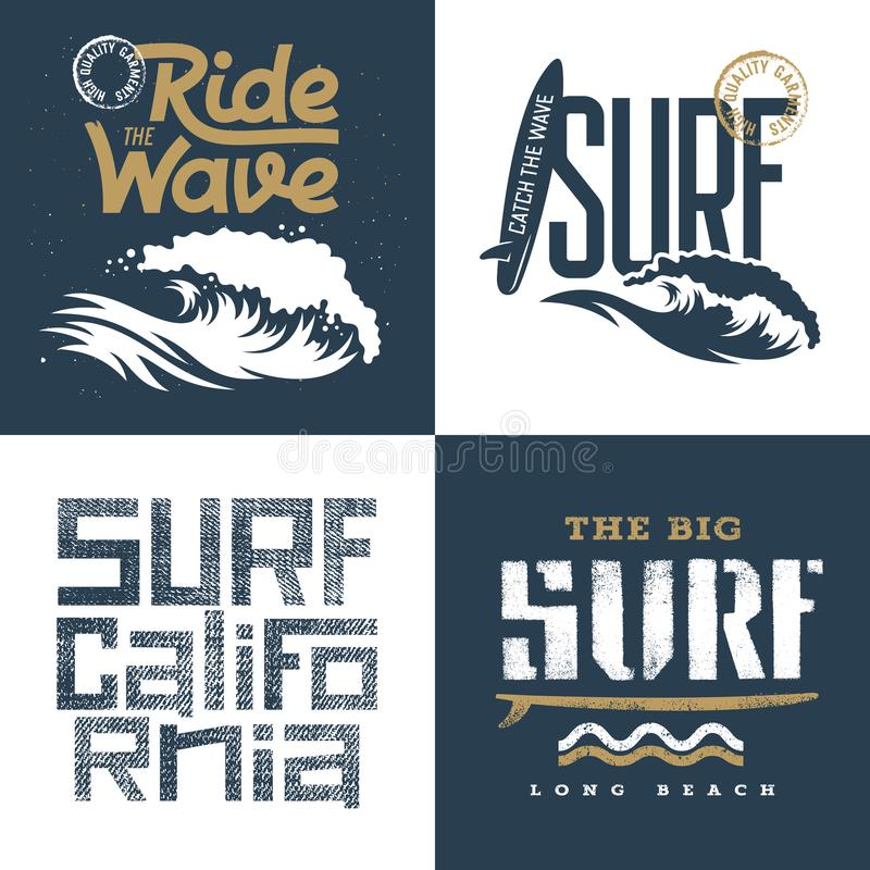 Insieme praticante il surfing 002 royalty illustrazione gratis