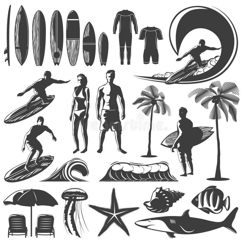 Insieme praticante il surfing dell'icona royalty illustrazione gratis