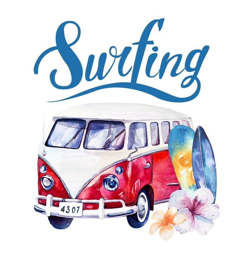 Insieme praticante il surfing dell'oceano disegnato a mano dell'acquerello Festa della spiaggia tropicale illustrazione vettoriale