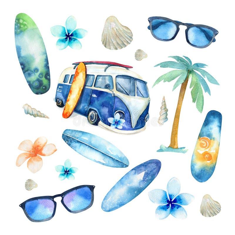 Insieme praticante il surfing dell'oceano disegnato a mano dell'acquerello Festa della spiaggia tropicale royalty illustrazione gratis