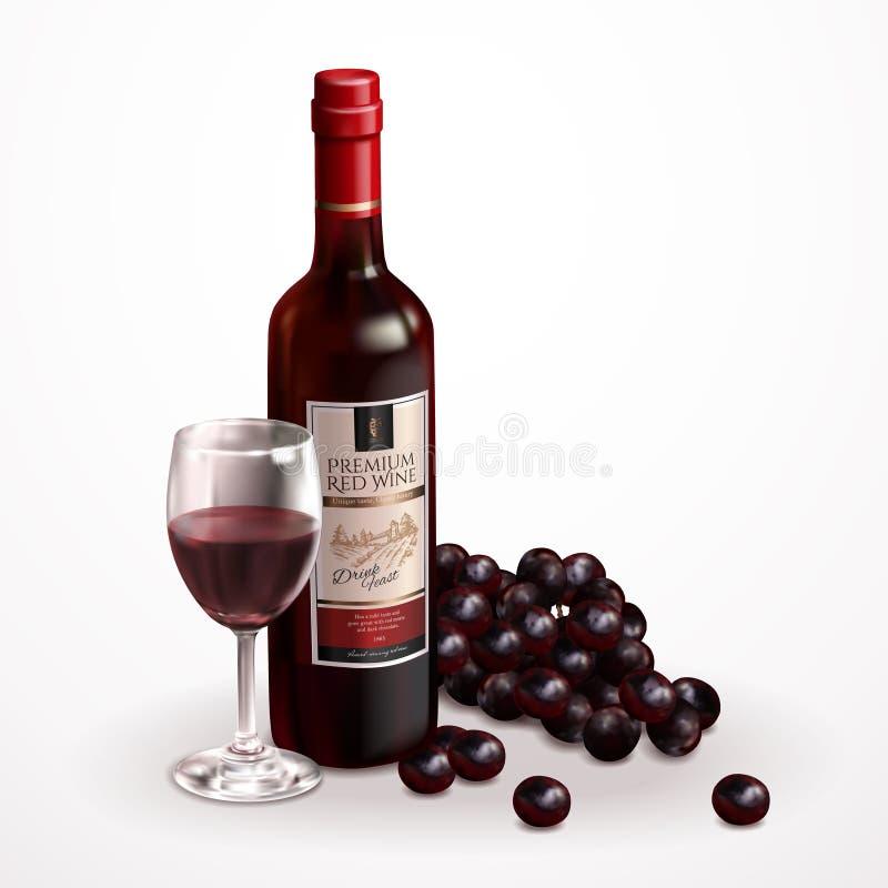 Insieme premio del vino illustrazione di stock