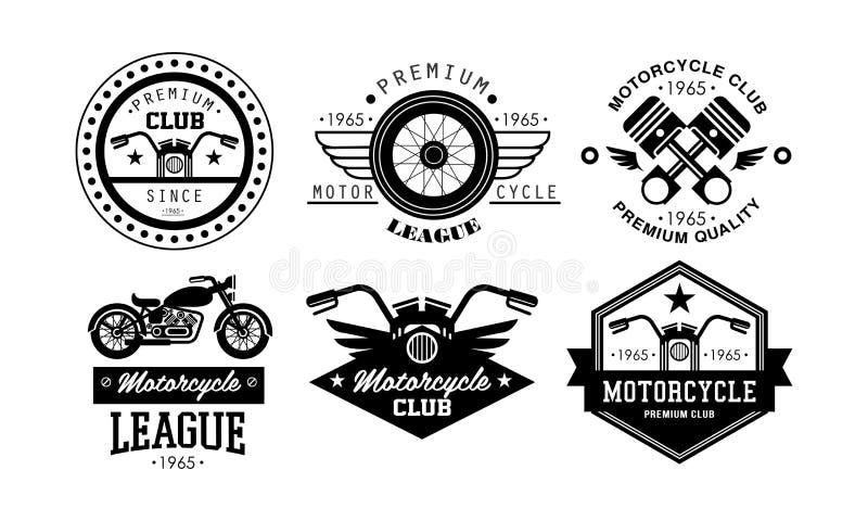 Insieme premio di logo della lega del motociclo, retro distintivi per il club del motociclista, deposito delle parti del motocicl illustrazione vettoriale