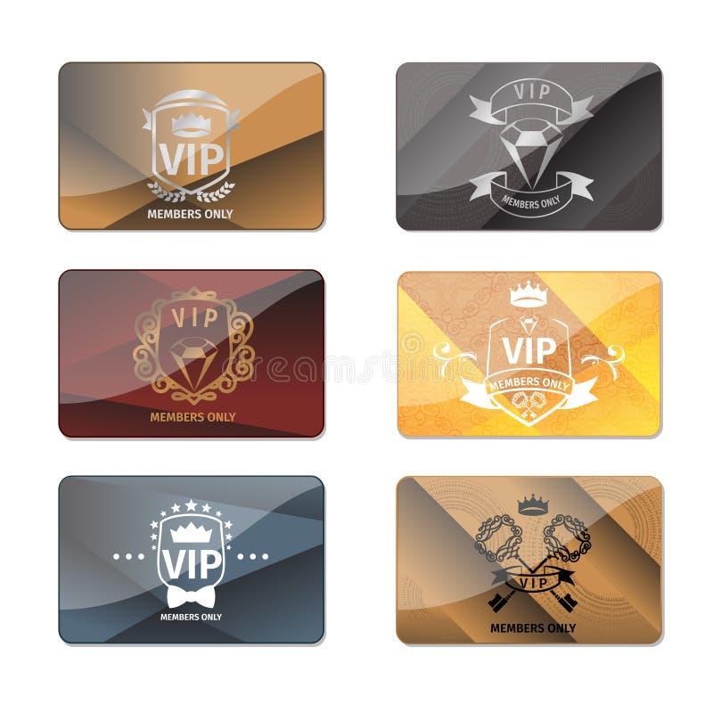 Insieme premio di vettore delle carte dei membri di club di VIP soltanto royalty illustrazione gratis
