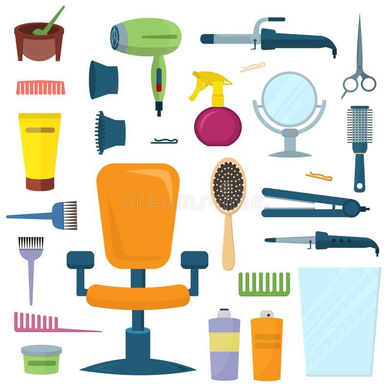 Insieme professionale di vettore degli strumenti del parrucchiere illustrazione di stock