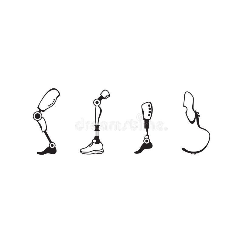 Insieme prostetico dell'icona della gamba Meccanismo prostetico della gamba dell'esoscheletro moderno illustrazione di stock