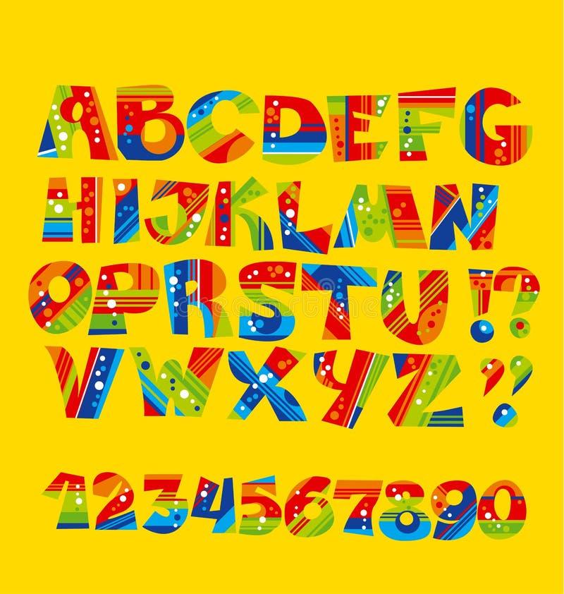 Insieme puerile luminoso della lettera di stile la geometria struttura la fonte divertente illustrazione vettoriale