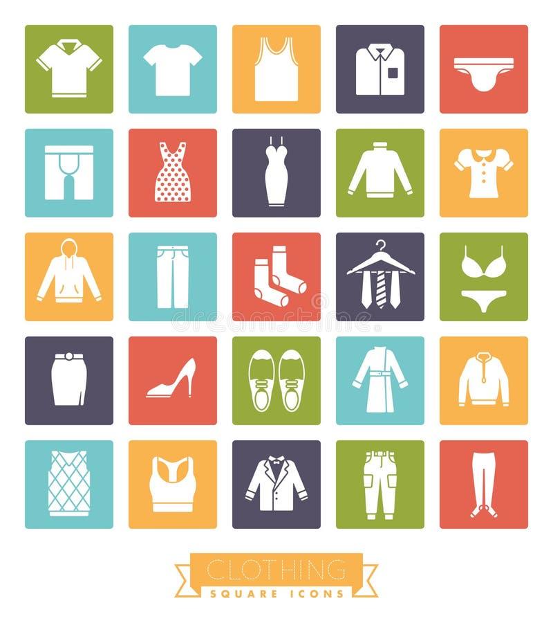 Insieme quadrato dell'icona di colore di modo e dell'abbigliamento royalty illustrazione gratis