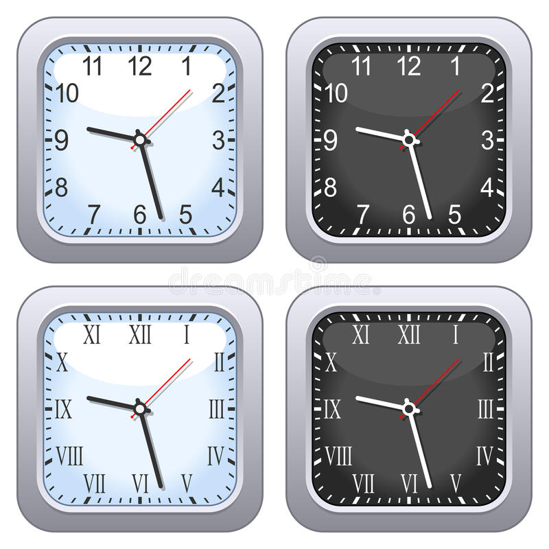 Insieme quadrato dell'orologio di parete illustrazione di stock
