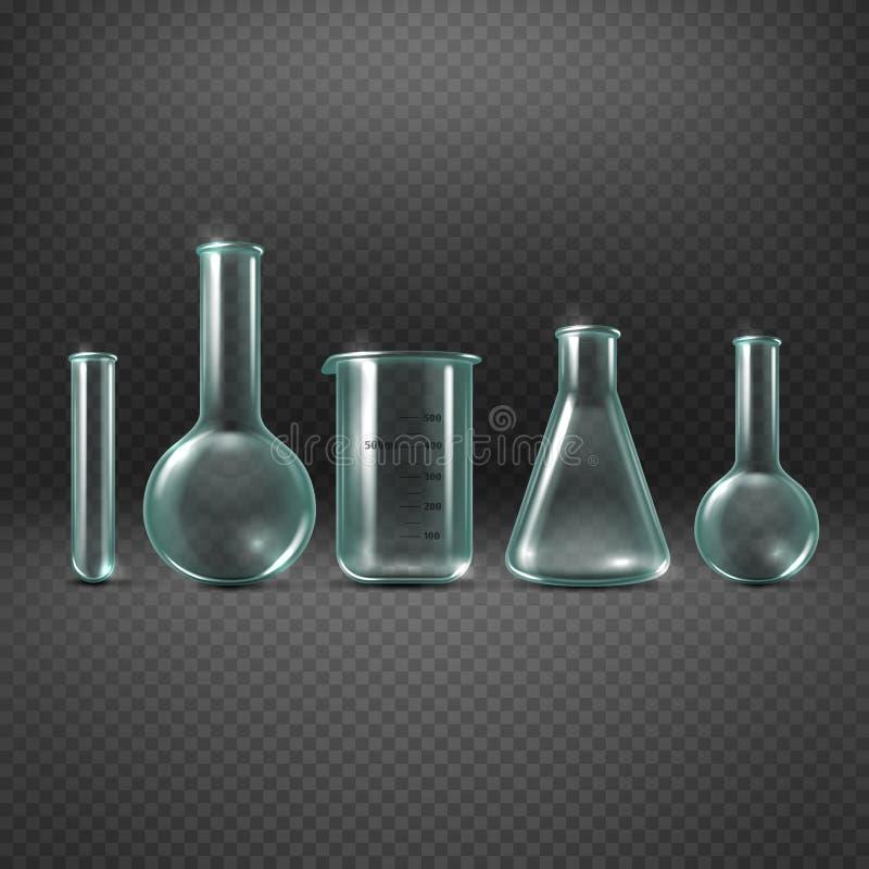 Insieme realistico chimico di vettore delle provette illustrazione vettoriale