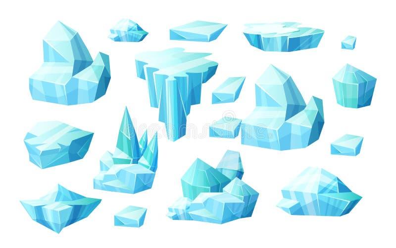 Insieme realistico dei cristalli di ghiaccio, pezzi rotti dell'iceberg di ghiaccio illustrazione di stock
