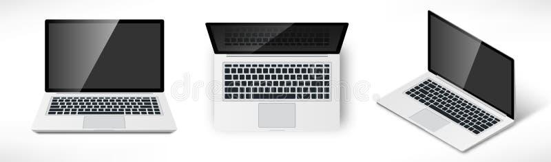 Insieme realistico del computer portatile illustrazione di stock
