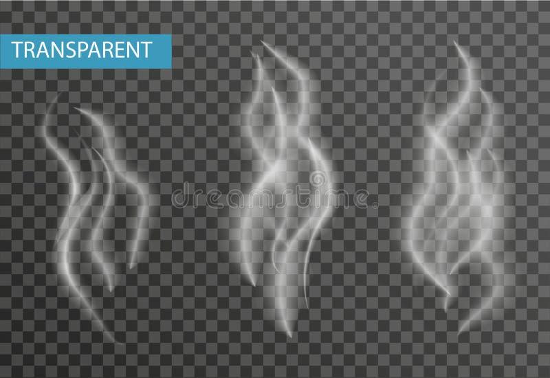 Insieme realistico del fumo isolato su fondo trasparente Sigaretta, effetto del vapore illustrazione vettoriale