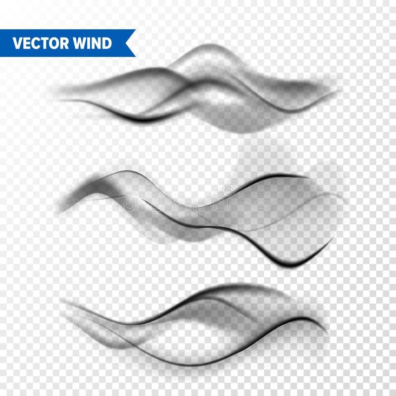 Insieme realistico del vento su fondo trasparente Vapore di vettore in aria, flusso del vapore del fumo Nebbia, effetto della fos illustrazione vettoriale