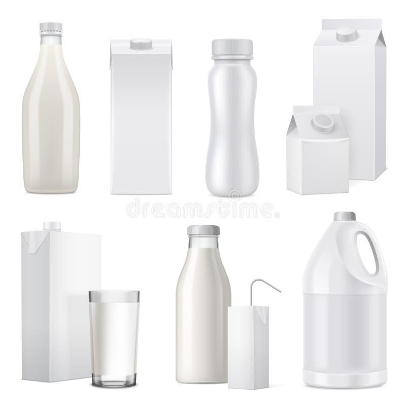 Insieme realistico dell'icona del pacchetto della bottiglia per il latte illustrazione vettoriale