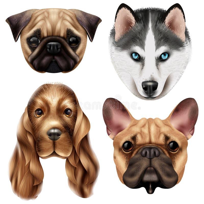 Insieme realistico dell'icona della razza del cane illustrazione di stock