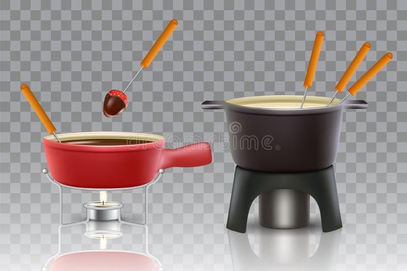 Insieme realistico dell'icona di vettore della fonduta di cioccolato del formaggio illustrazione vettoriale