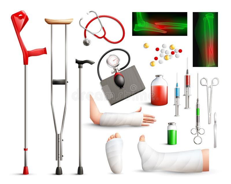 Insieme realistico della chirurgia di trauma illustrazione vettoriale
