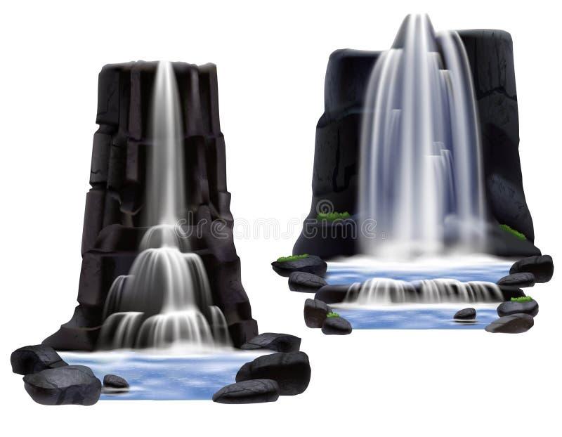 Insieme realistico della composizione nelle cascate illustrazione vettoriale