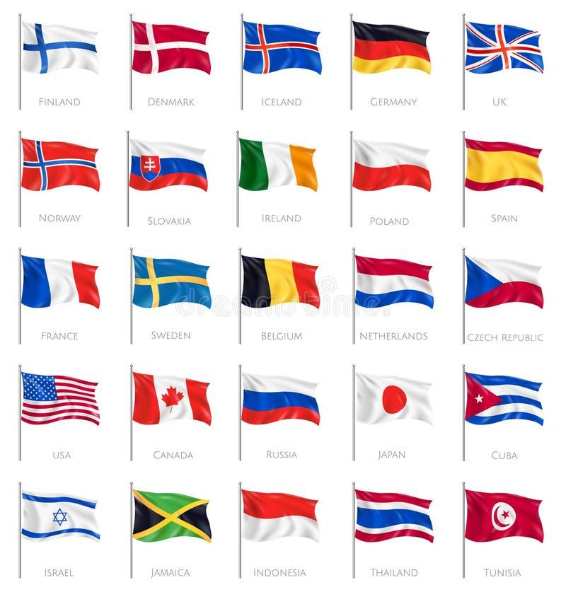 Insieme realistico delle bandiere nazionali illustrazione di stock
