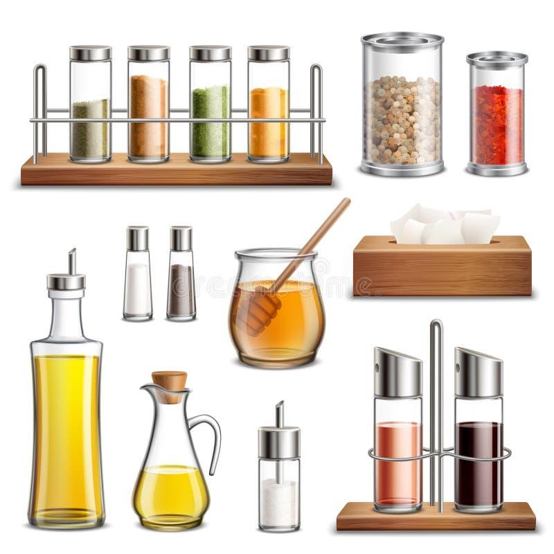 Insieme realistico delle spezie delle piante aromatiche illustrazione di stock