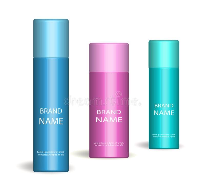 Insieme realistico dello spruzzo Su fondo bianco 3d cosmetici bottiglia, modello del deodorante Raccolta d'imballaggio del prodot illustrazione di stock