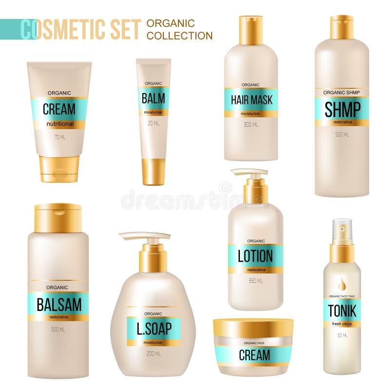 Insieme realistico di lusso cosmetico dei prodotti di bellezza illustrazione di stock
