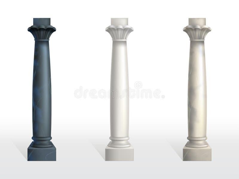 Insieme realistico di vettore delle colonne di marmo della pietra di colore royalty illustrazione gratis