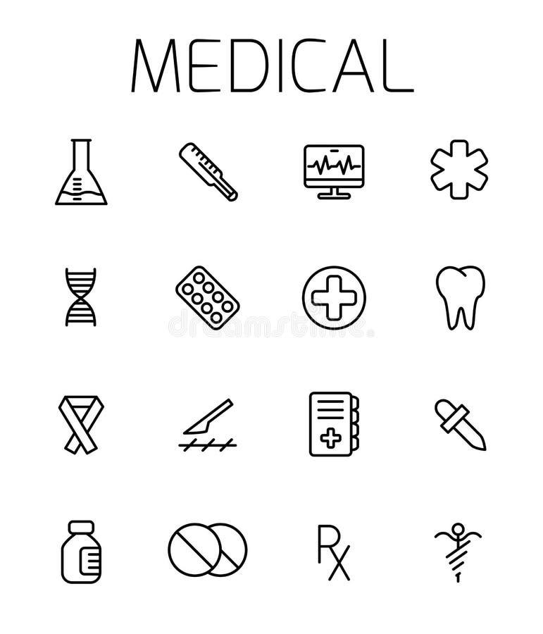 Insieme relativo medico dell'icona di vettore illustrazione di stock