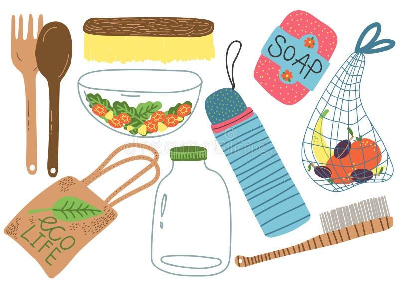 Insieme residuo zero, oggetti riutilizzabili per la cucina, acquisto, illustrazione di vettore dei prodotti di stile di vita di E royalty illustrazione gratis
